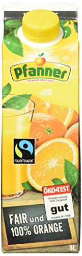 Pfanner Fairtrade Orangensaft 100%, 8er Pack (8 x 1 l)