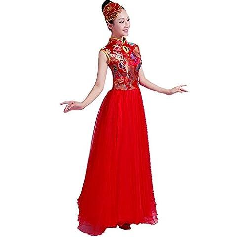 Wgwioo opening dance flamenco kleider modern klassische kostüme erwachsene frauen chor rock stage performance big swing rock , red , s