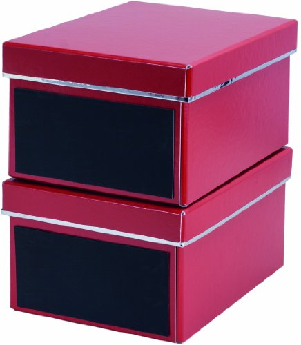 Bigso 386223309 7330061386335 Emelie Lot de 2 boîtes de rangement pour DVD avec ardoises Rouge 28,5 x 21,5 x 15 cm