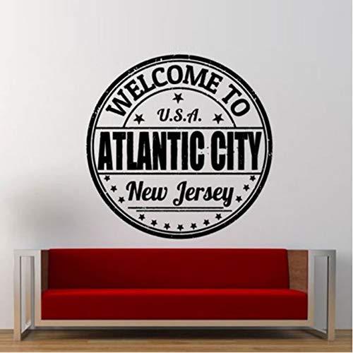 HLZLA Willkommen in Atlantic City Stempel Wandaufkleber für Wohnzimmer Kunst Dekoration Wohnkultur Vinyl Wandtattoos Schlafzimmer Wandbilder 56x56 cm