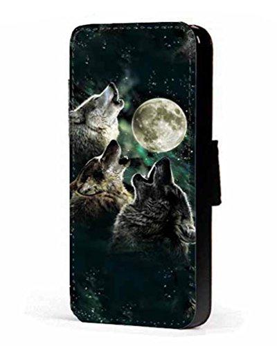 Trois Lune Loup Loups Téléphone portable étui portefeuille en imitation cuir pour iPhone 45C 6S Samsung S6S5S4S3Mini, Cuir synthétique, Samsung Galaxy S4 Mini
