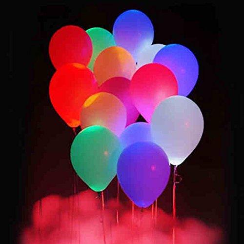El LED enciende los globos con cintas, 40 globos de partido que destellan del color mezclado del paquete - 12 pulgadas Globo luminoso colorido para el cumpleaños, la Navidad, boda, decoración del festival.