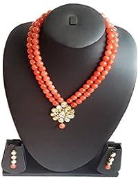 Stylish Orange Pearl & Kundan Necklace Set With Earings For Women