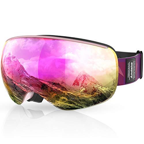 Andake Brillenträger | magnetisch | Anti-Fog Anti-Kratzen/Beschlag UV400-Schutz | verspiegelte sphärische Linse Skibrille Goggle Snowboardbrille Herren Damen Erwachsener, Pink/VLT 21.4%