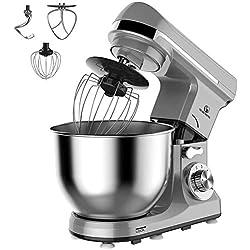 MURENKING MK37C Robot Pâtissier, 1000W 5L Bol Mélangeur Inox 6 Vitesses Robot de Cuisine Avec 4 Accessoires (Gris)