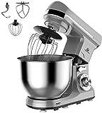MURENKING MK37C Küchenmaschine (1000W,5 Liter edelstahl-Rührschüssel, 6-Stufige Geschwindigkeit ), Knetmaschine Schüsse Den Kopf neigen mit Zubehör(Grau)
