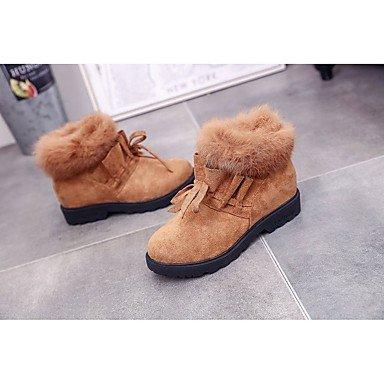RTRY Scarpe donna pu Fall Winter Snow Boots stivali tacco basso Round Toe stivali Mid-Calf Lace-Up per Casual marrone chiaro Army green nero US6 / EU36 / UK4 / CN36