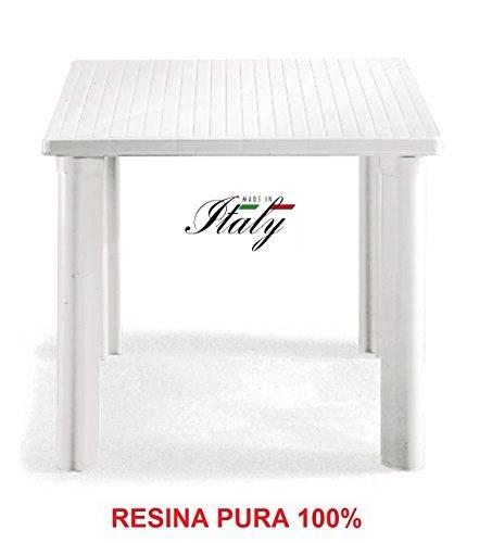 ALTIGASI Table Blanc en résine Pure modèle Elle Mesure 80 x 80 – Facile à Monter – Fabriqué en Italie