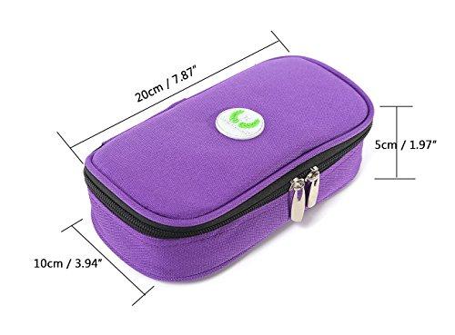 418CXEVm3ML - Bolso portátil del refrigerador del organizador de la insulina, bolso del refrigerador del viaje de la caja del protector médico con paquete de hielo para el diabético (Púrpura + 2 Bolsas de hielo)