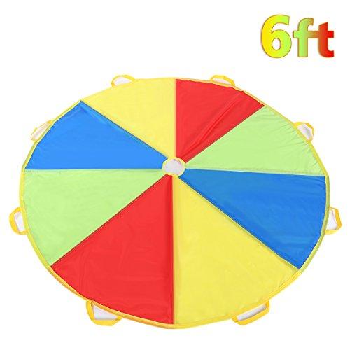 Shinehalo Bunt Fallschirm Parachutes Spielzeug, 6 Fuß Regenbogen Fallschirm für 4-8 Spieler , 1.8M Schwungtuch für Kinder und Familie Outdoor-Sport-Entwicklungs-Kooperative Spiele, Bunte