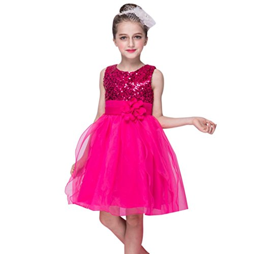 Mädchen Kleid ,OverDose Kleinkind Baby Mädchen Blumen Bling Pailletten Sleeveless Tutu Prinzessin Kleid Party Kleid Brautjungfer Kleider Outfits Kleidung 0-9T(24 Monate,A-Hot Pink) (Pocahontas Prinzessin Kostüm)