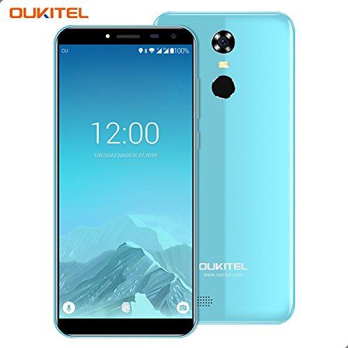 Smartphone Ohne Vertrag, Oukitel C8 3G Dual Sim Handy 5.5 Zoll (18:9 Display) Android 7 3000mAh Akku 16GB Interner Speicher 2GB RAM 13MP Kamera Handy mit Fingerabdruck-Blau