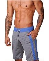 Demarkt® Short de bain - Pantalon Court de Sport/ Plage/ Beach pour Hommes - Taille S/M/L - Couleur Gris