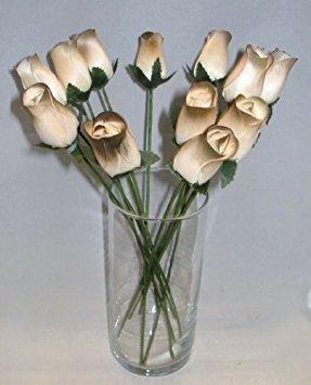 2Dutzend (24) handgefertigt Birke Holz geschlossen Tee bud Rosen für Hochzeiten, Party, Gastgeschenken alle Anlass, Home Decor (brown-olive/weiß)