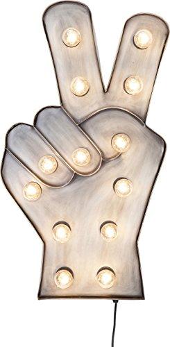 Kare Design Leuchtobjekt Peace, Wandleuchte, Designleuchte, Wandobjekt, Wandschmuck Licht, Dekoleuchte Grau, Wanddekoration (H/B/T) 71x40x9cm (Zeichen Und Lichter Peace)