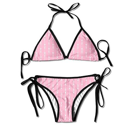 Womens Sexy Bikini Sets Bathing Swimsuits Tie Back Arrow Pink Arrows Fabric Arrow Rows Stripes Flower Print Blue Stripe Bow Tie