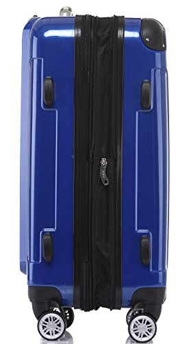 BEIBYE Hartschalen Koffer Trolley Rollkoffer Reisekoffer 4 Zwillingsrollen Polycabonat (Blau, 76cm -110L) - 3