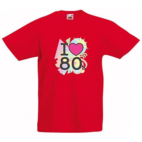 Kinder T-Shirt Ich liebe 80er Konzert t-shirts Weinlese Kleidungs Musik t-shirts geschenke (9-11 years Rot (1980 Kostüme Jungen Für)