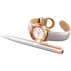 "Helveco Ladies Wristwatch Gift Set ""Flora"" Analog Leather Quartz 4250637915642"