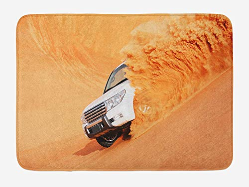 Truck Pick Up Big Car with Huge Wheels Driving Through The Sand Hills Print, Plush Bathroom Decor Mat with Non Slip Backing, 23.6 x 15.7 Inches, White Yellow ()