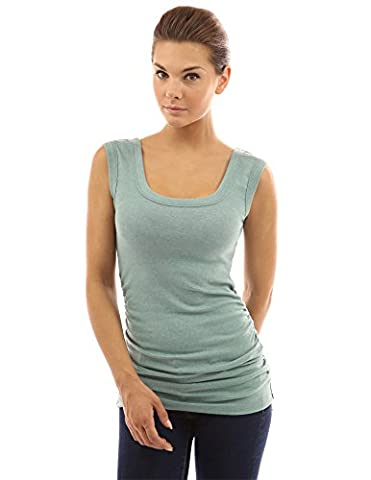 PattyBoutik Women's Scoop Neck Ruched Tank Top (Light Green 12)