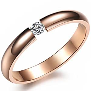 JewelryWe New Rose Gold Tone Stainless Steel Promise Ring Engagement Wedding Band for Ladies (Size P)