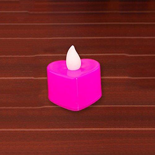 24 Love Heart Vela Luces decorativas creativas Smokeless Vela romántica Electronic Tealights Luces de decoración de la boda (rojo, rosa) ( Color : Rosado )
