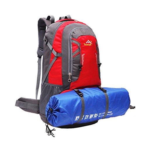 Impermeabile Borsa Zaino Esterno Dello Zaino Di Corsa Di Sport Trekking Escursionismo, 60L - Arancione Rosso