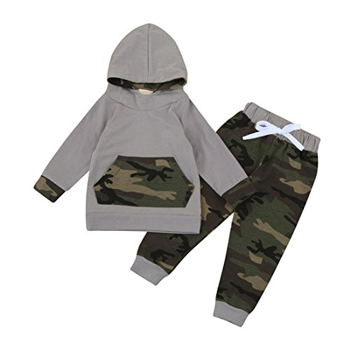 Pullover Set Kleinkind Btruely Unisex Langarm Baby Clothes Set Camouflage Spielanzug + Hosen Kappe Outfits Kinder (80, Camouflage 1)