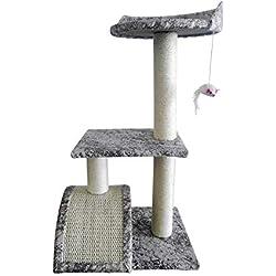 LuckyPet Gimnasio para Gatos Rascador Gris Cuerda Peluche Uñas Suave Juego (Cod. LU8047)