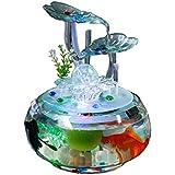 LSHUAIDJ Adornos de Agua del Acuario Feng Shui Afortunado Simple Fuente Creativa Moderna Cilindro de Cristal