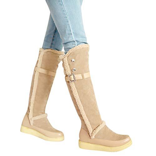 TianWlio Stiefel Frauen Herbst Winter Schuhe Stiefeletten Boots Art und Weise Feste Warme Retro Leder Knöchel Kurze Stiefel Runde Zehe Schuhe Khaki 43