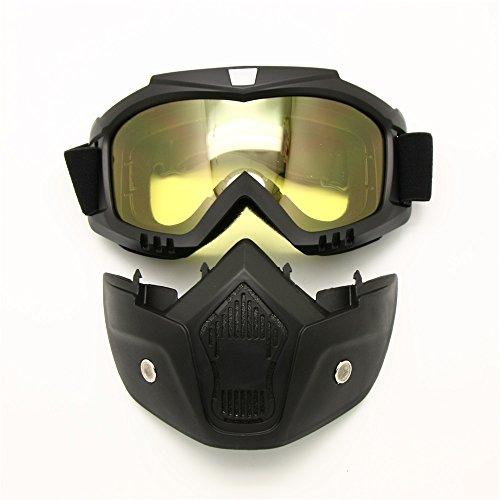 Occhiali da moto maschera staccabile, Harley Style proteggere imbottitura casco da sole, strada equitazione UV moto occhiali, unisex donna (Obiettivo di visione notturna)