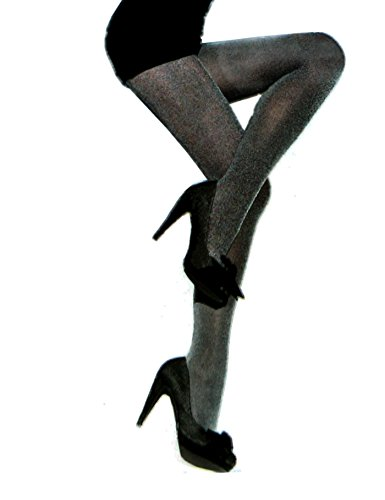Knittex Racel 3D Microfaser Blickdichte Damen Strumpfhose Pantyhose Stockings in glänzenden Schwarz Grau Silber Melange (Strumpfhosen Schwarz Strumpfhosen Stocking)
