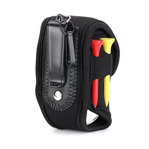 SPLHMILY Mini Golf Ball Halter Tasche, tragbare schwarze elastische Neopren Kleine Taille Pack für Golf Bälle mit 4 Tees und 2 Praxis Bälle (Mini Taille)