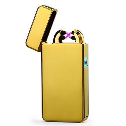USB Elektronisches Feuerzeug Juleya Dual Lichtbogen Aufladbar Winddicht Flammenlose Gold