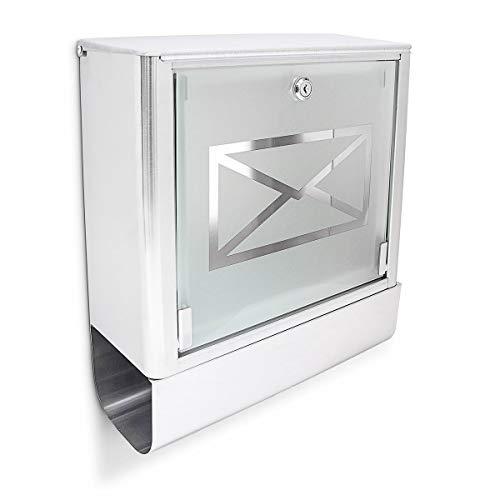Relaxdays Briefkasten mit Zeitungsfach, Postkasten aus Edelstahl und Glas, Mit Motiv, HBT: ca. 40 x 35 x 14 cm, Silber/grau