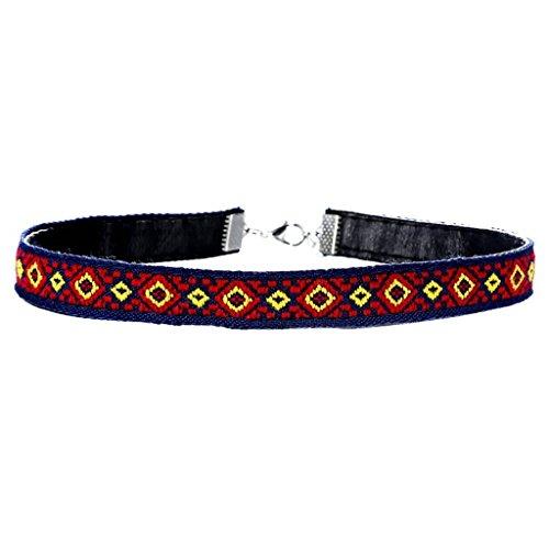 Epinki Damen Choker Halskette, Nationale Stil Samtband Kropfband Tattoo-Halskette Klassische Stretch Samt Gothic Tattoo Spitze HalsschmuckRot B31+5cm