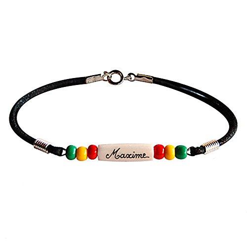 Bracelet personnalisé avec prénom. Bracelet homme femme style reggae Jamaïque taille1 (16cm enfant de 4 à 7-8 ans)