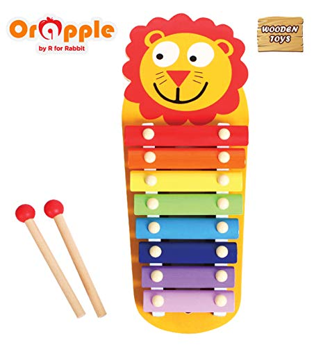 Orapple Toys by R for Rabbit - Tin Tin Xylophone Musical Toys for Kids/Baby Learning or Educational Toys(Lion)