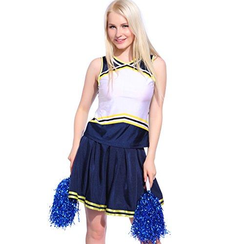 Anladia Cheerleader Kostüm, Mädchen Cheerleading Uniform Cheer Leader Kleid mit 2 Pompoms