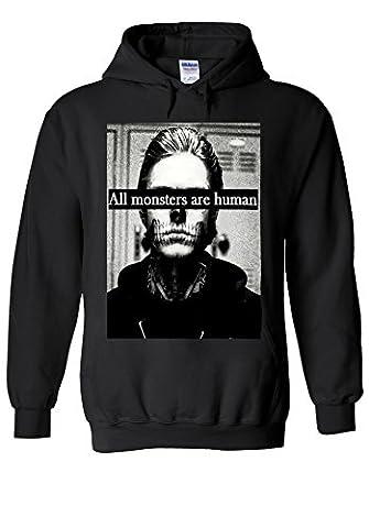 All Monsters Are Human Funny Novelty Black Men Women Unisex Hooded Sweatshirt Hoodie-S