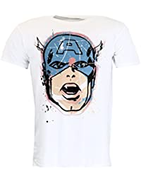 Marvel Comics Captain America Head Distressed T-shirt Official Licensed Movie