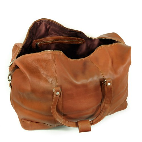 Große Reisetasche / Weekender Größe L aus Nappa-Leder, für Damen und Herren, Braun, Jahn-Tasche 697 Cognac