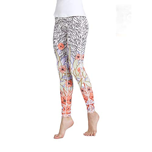 SCYYY Plus Size gedruckt Yoga Capris Stretching Butt Lift Leggings für Frauen Athletic Gym Capris high-Taille Workout Strumpfhosen reiten Laufhose,Orange,M