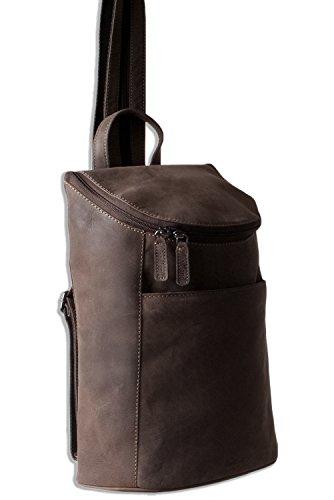 Woodland® – Rucksack aus weichem, naturbelassenem Büffelleder in Dunkelbraun/Taupe - 5