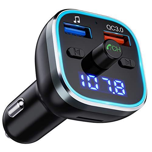 Bluetooth V5.0, OMORC Kfz Radio Transmitter mit 7 Farbe LED Backlit, QC3.0 Dual USB Adapter Unterstützung U Disk/TF-Karte/Bluetooth/Freisprecheinrichtung ()