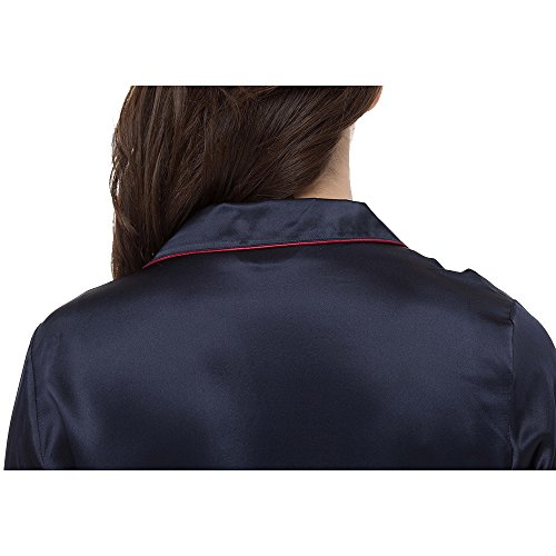 LILYSILK Robe de Chambre 100% Soie Bio Femme Ceinture à Nouer Manches Longues 22 Momme Bleu Marine