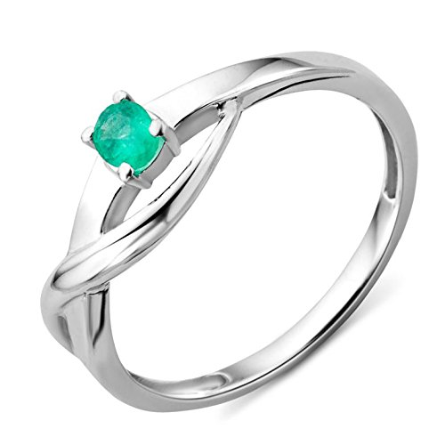 Miore Damen Ring 9 Karat (375) Weißgold Smaragd Gr.52 MA975R2