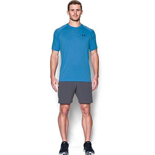 Under Armour Herren Tech Short Sleeve Tee Kurzarmshirt, Wasser/Schwarz, M (Sleeve Tee Long Run)